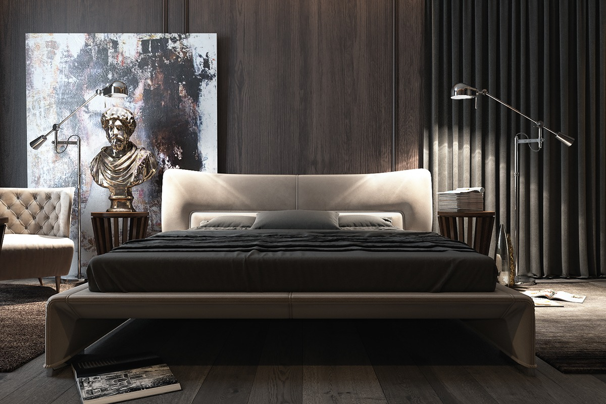 3 amazing dark bedroom interior design roohome designs for Black modern decor