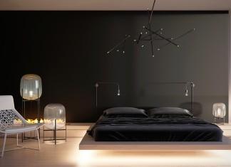 black minimalist bedroom design