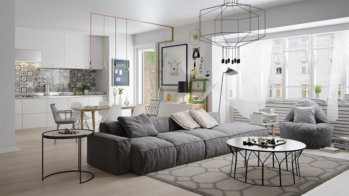 Nordic Living Room Interior Design Bring Out a Cheerful ...