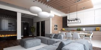 simple minimalist open plan decor