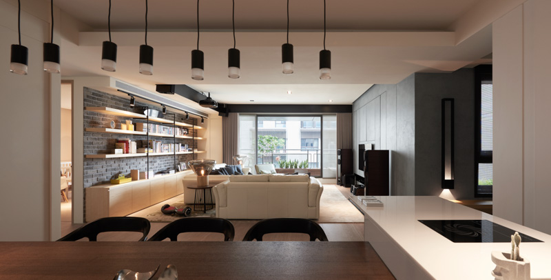 Dark Apartment Interior Design For A Young Family
