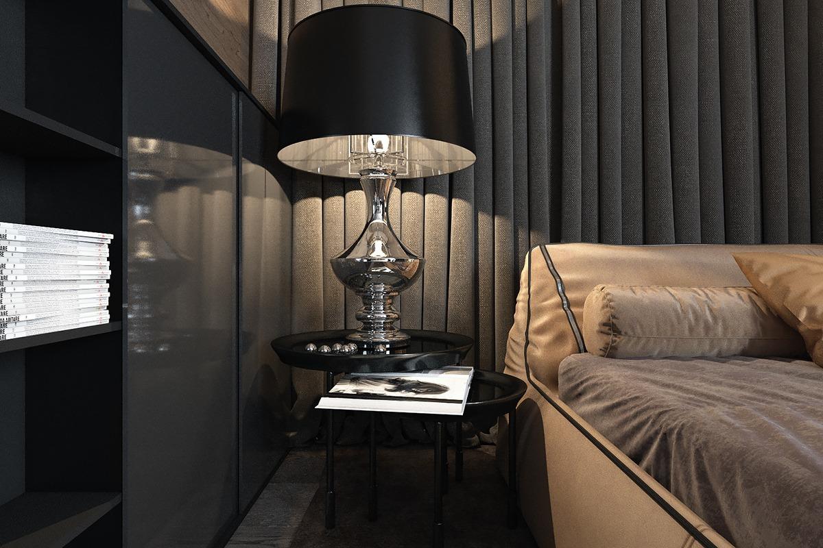 3 amazing dark bedroom interior design roohome designs for Interior design bedside tables