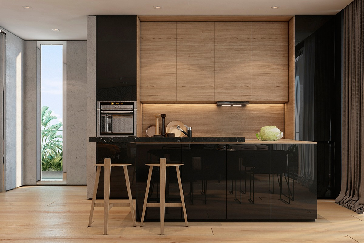 Modern apartment design ideas with the soft and sleek for Kitchen designs 2016