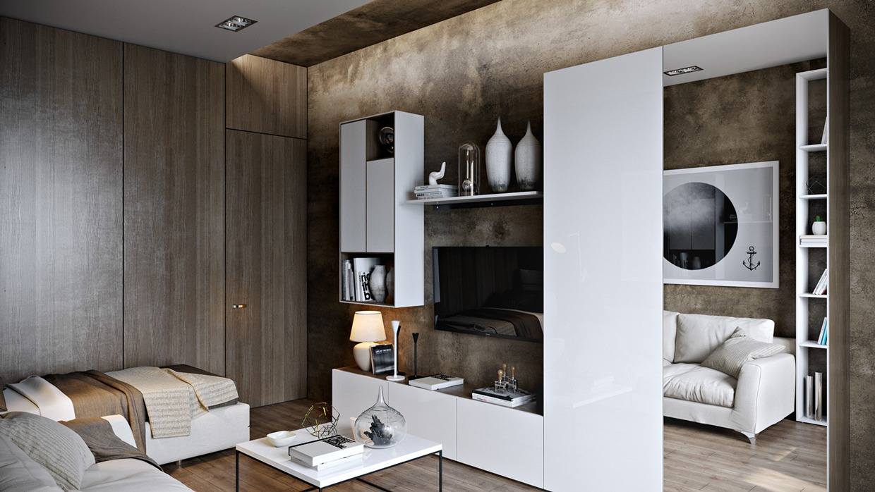 Modern Wood Paneling ~ Posh apartment interior design in a small space
