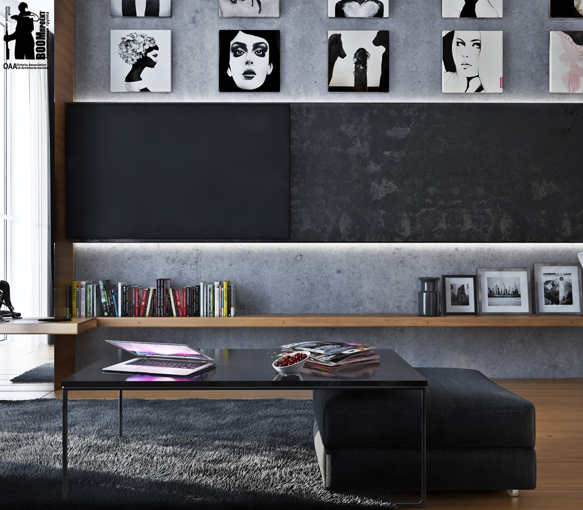 living room color black and white