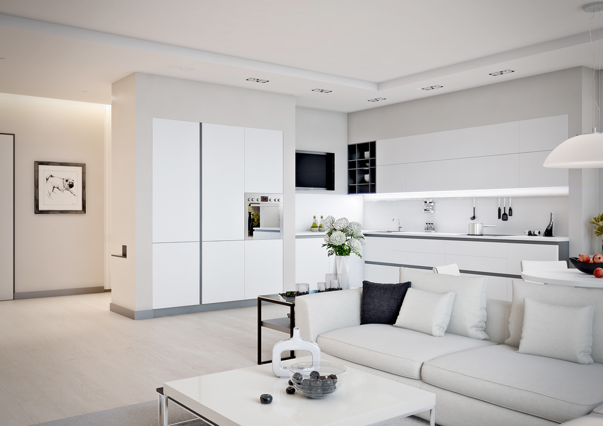Small Apartment Design For Couples With White Color Scheme