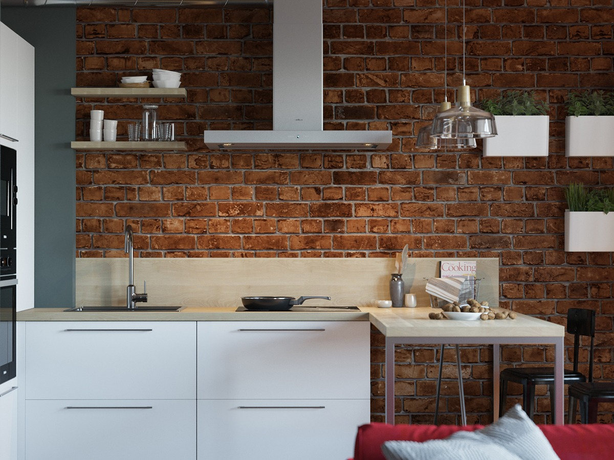 brick floor kitchen 3 small apartment ideas that creates the cheerful 1784