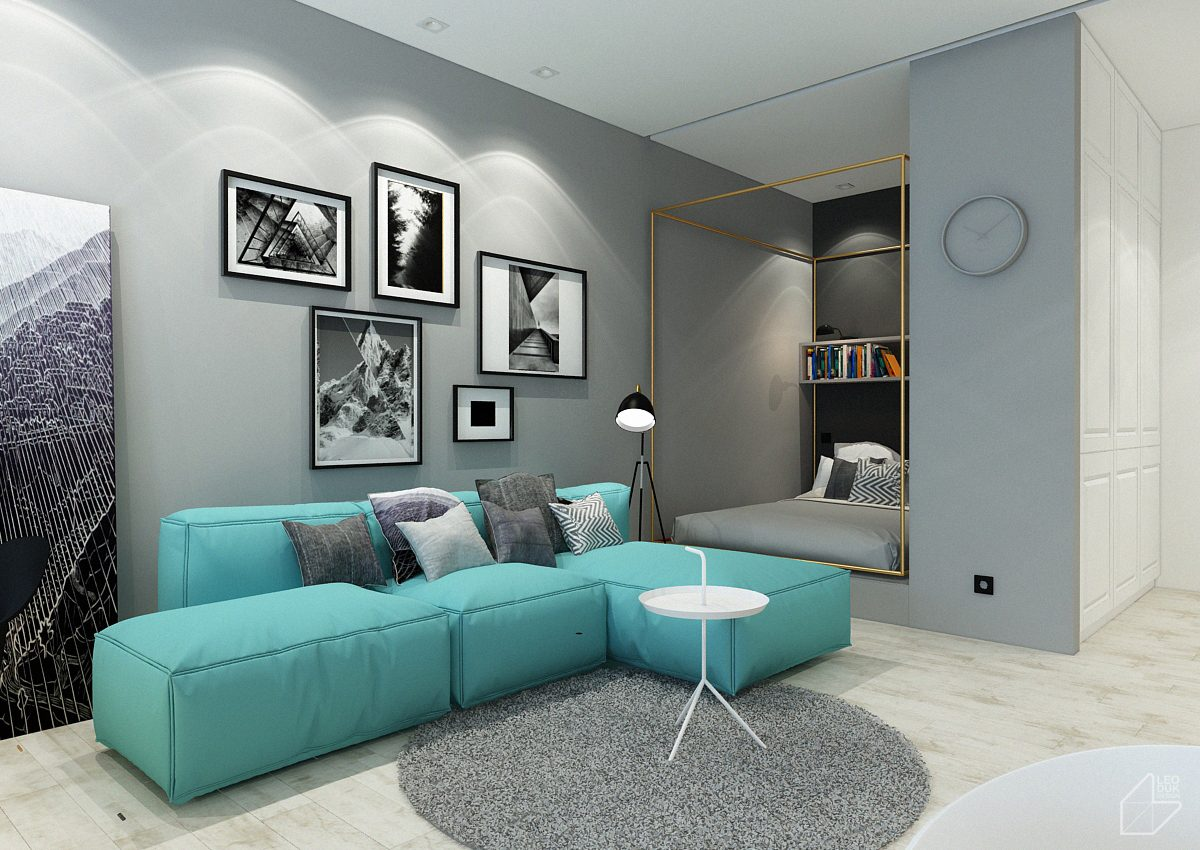 2 Minimalist Apartment Design Ideas With Beautiful Blue