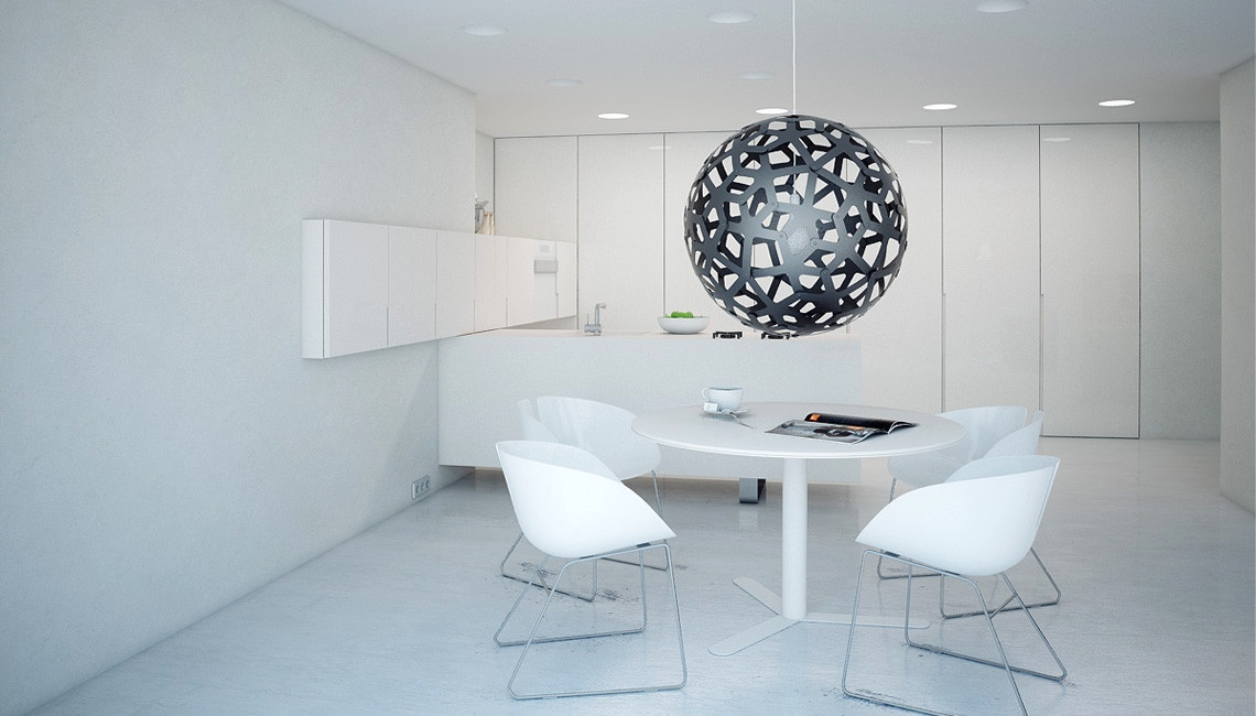 Minimalist white dining room design
