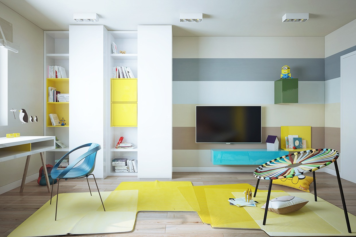 Modern and stylish apartment interior design from pavel for Colorful interior design ideas