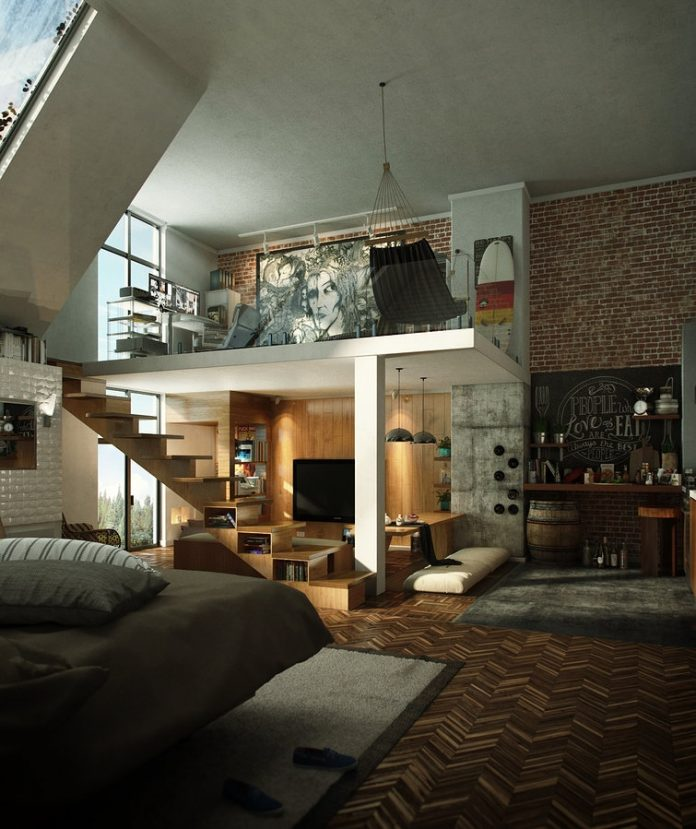 Loft Apartment: 2 Loft Apartment Interior Design With Beautiful Art Work