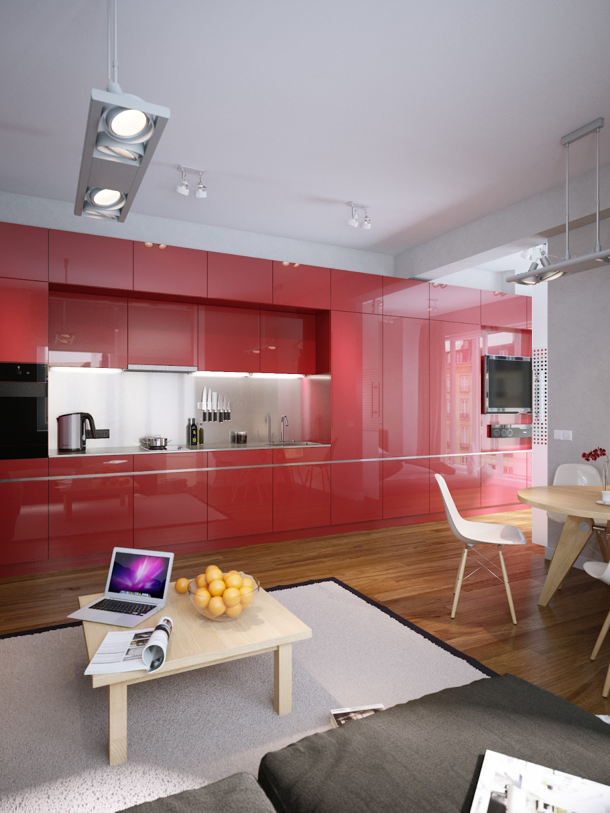 Modern apartment design with beautiful red kitchen set for Modern apartment kitchen design