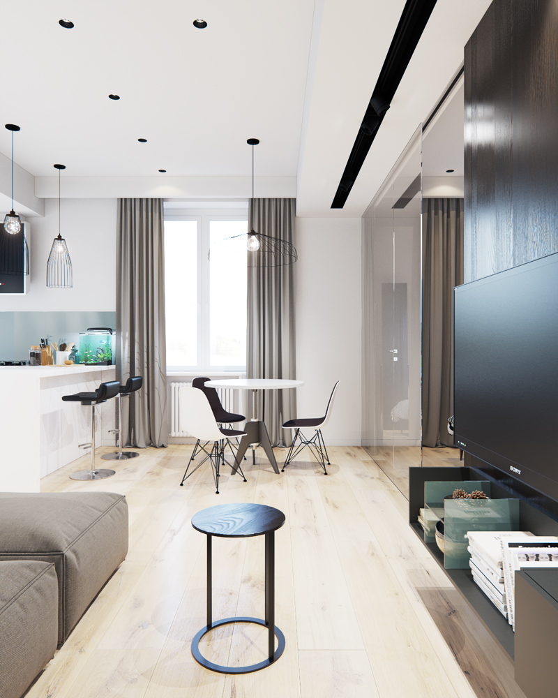 Black and white studio apartment design