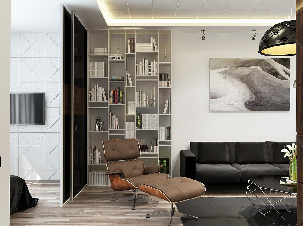 Minimalist apartment interior design with gray color for 1 zimmer wohnung einrichten