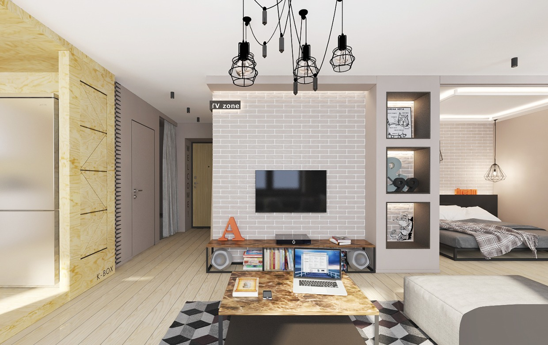 minimalist apartment interior design with gray color scheme