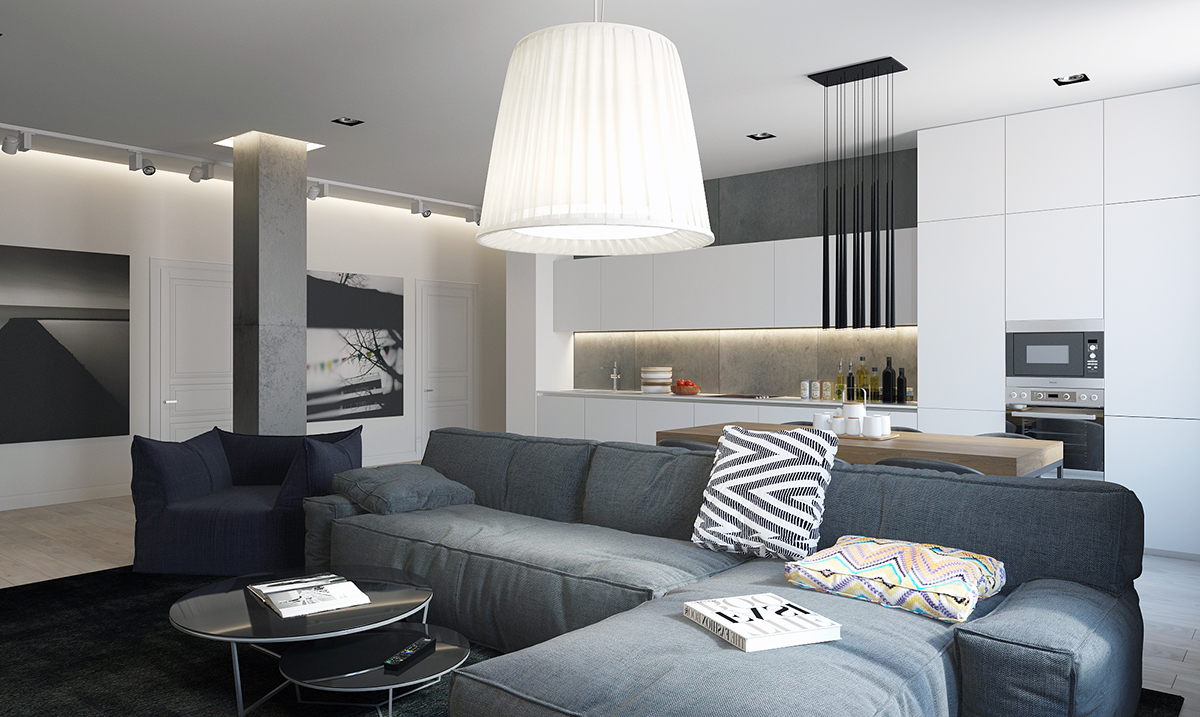 Open plan apartment layout