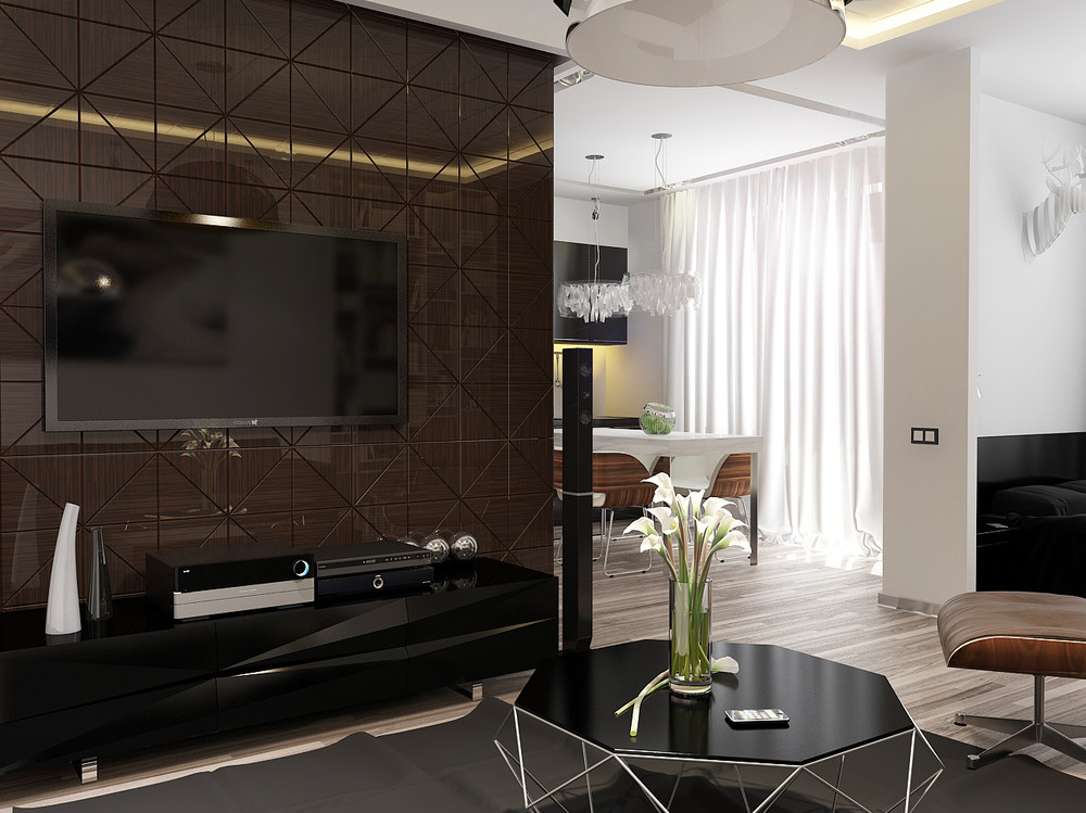 Minimalist apartment interior design with gray color for Minimalist color scheme interior design