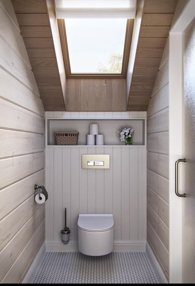 Attic bathroom design