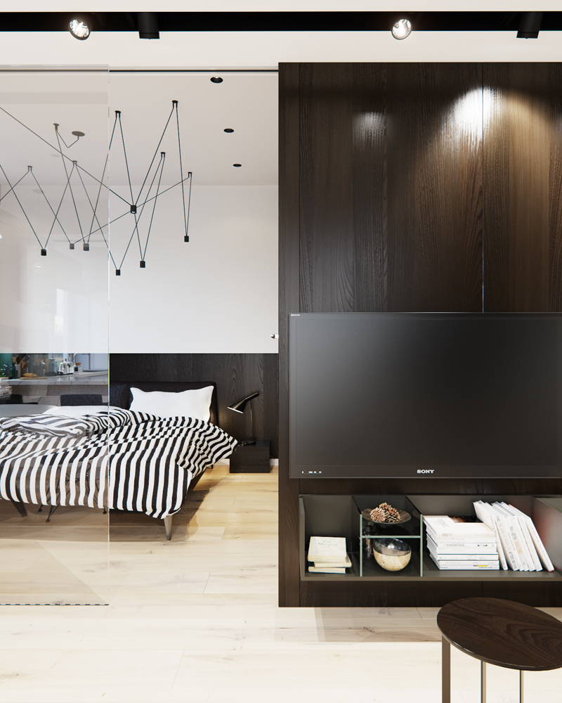 Black and White Studio Apartment Interior Design RooHome