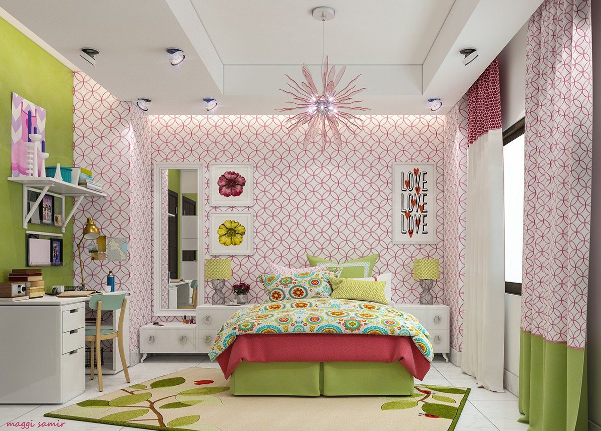 Colorful bedroom paint ideas for energetic kids roohome for Orange and green bedroom designs