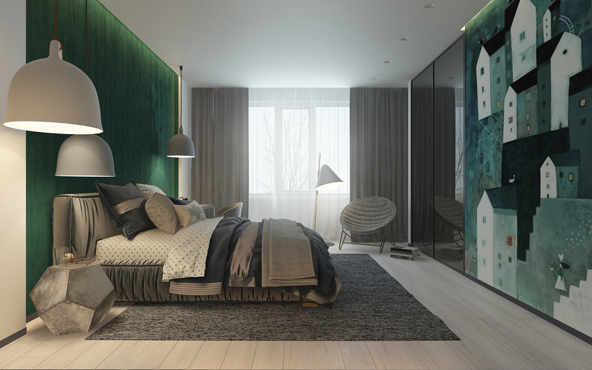Green bedroom decorating ideas for teenager roohome for Show bedroom designs