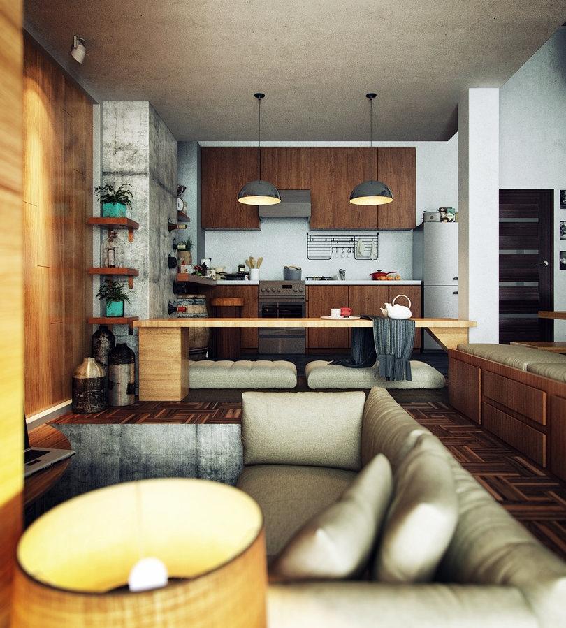 Loft Apartment Interior Design Ideas: 2 Loft Apartment Interior Design With Beautiful Art Work