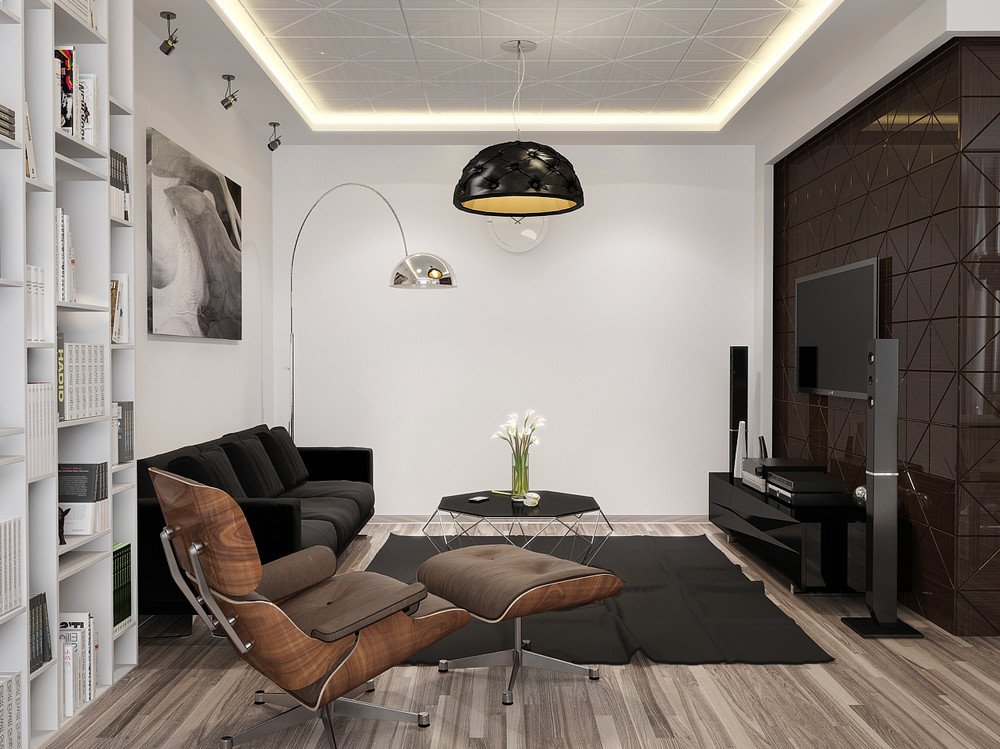 Minimalist apartment interior design with gray color scheme roohome designs plans - Images of small modern apartment interior in france ...