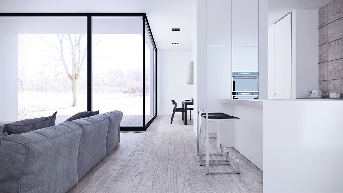 White Interior Design Style With Low Profile Furniture