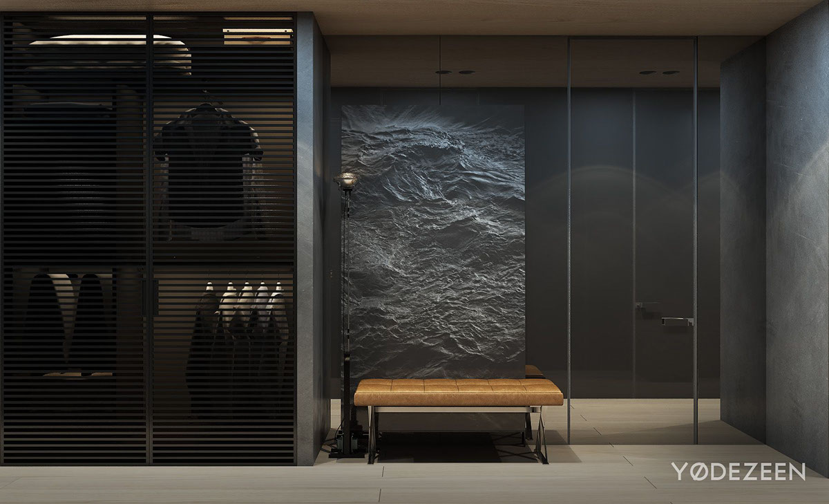 Modern master bathroom plan - Dark Apartment Design Style Theme And Ideas By Y 216 Dezeen Roohome