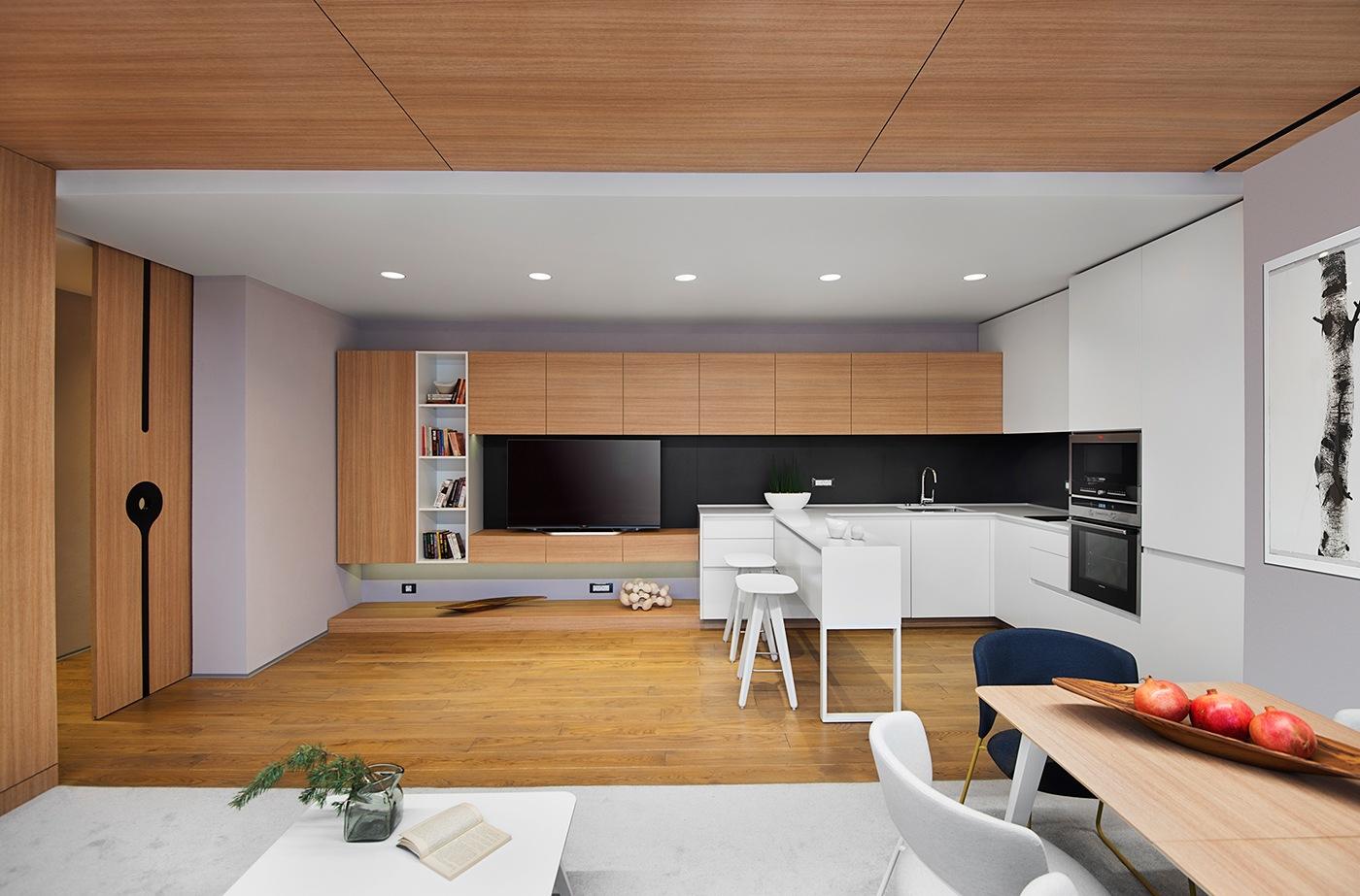 Minimalist apartment design with simple wooden interior for Apartment design wood