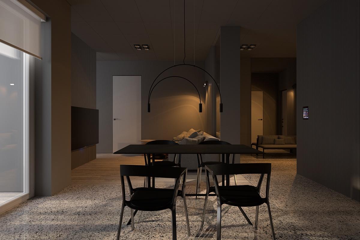 Gray dining room design