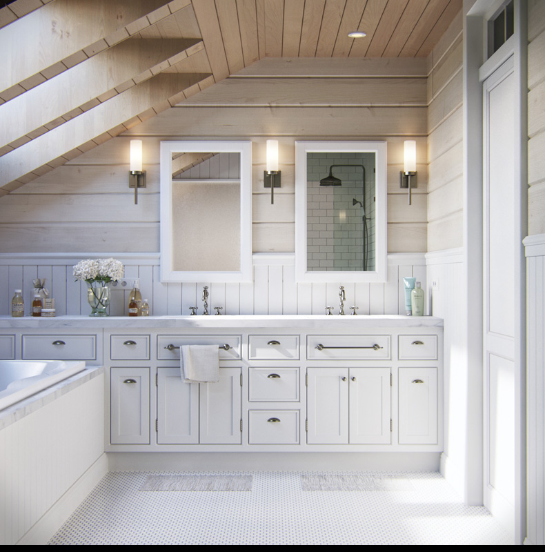 Attic bathroom design