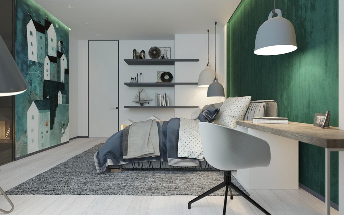 Green bedroom design ideas