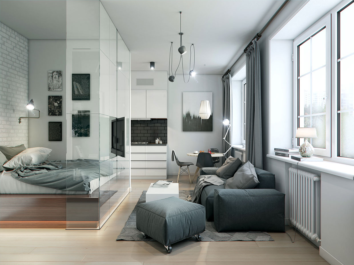 3 Studio Apartment Design Inspiration By Konstantin