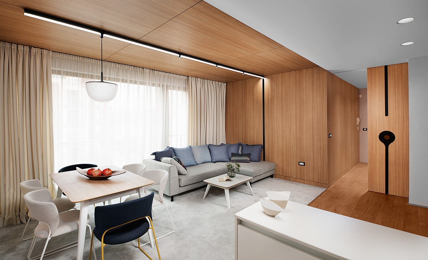 Minimalist apartment design with simple wooden interior for Minimalist apartment design