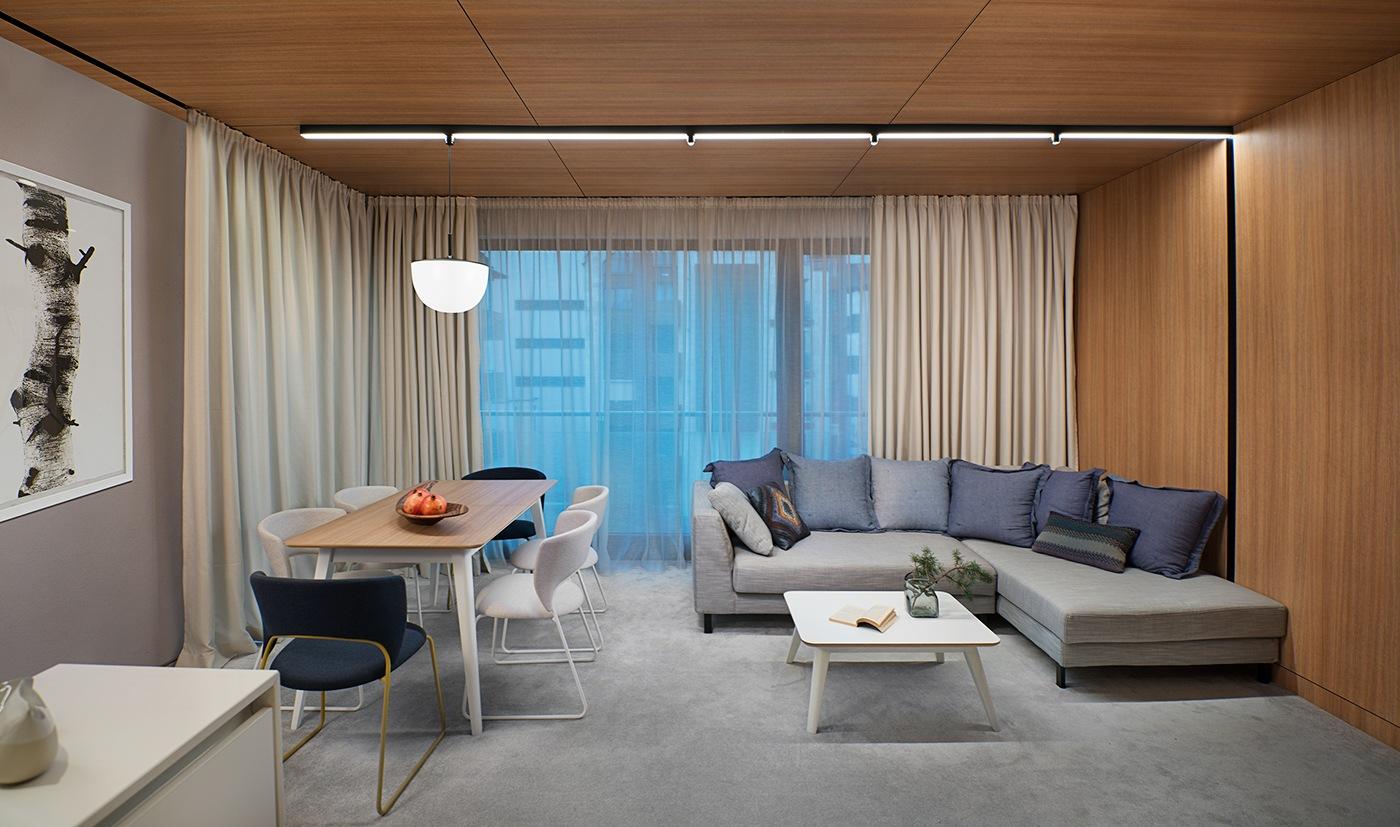 Minimalist apartment design with simple wooden interior for Minimalist living room apartment