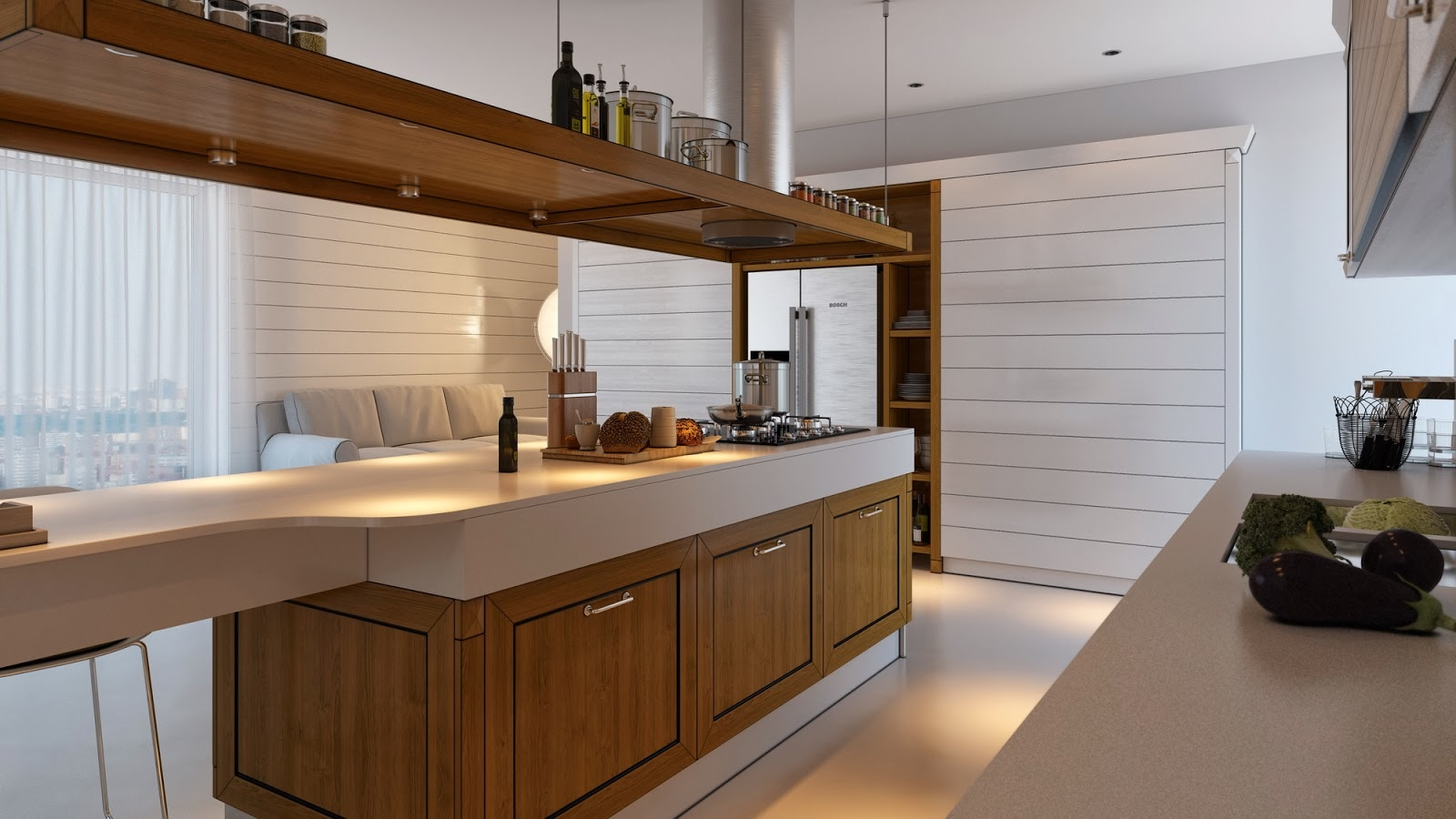 Minimalist kitchen design with brown color