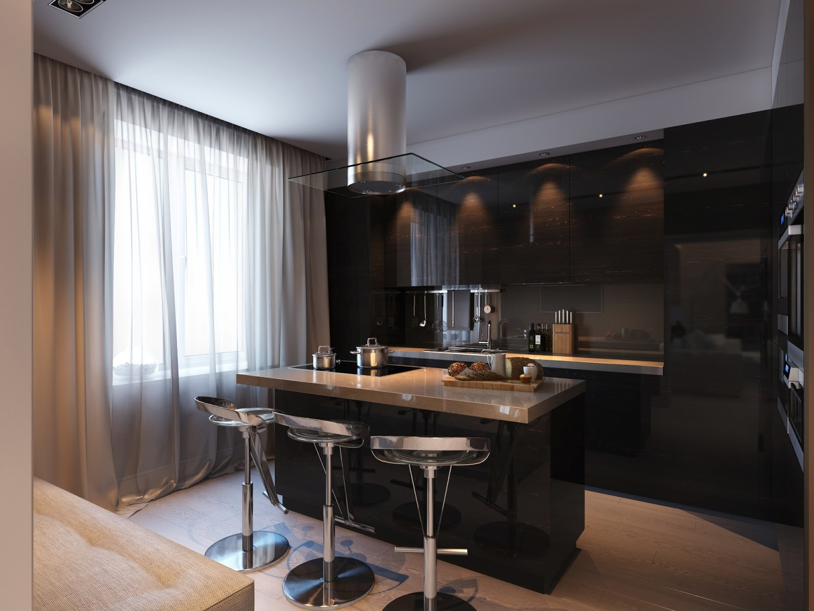 Minimalist kitchen with black color