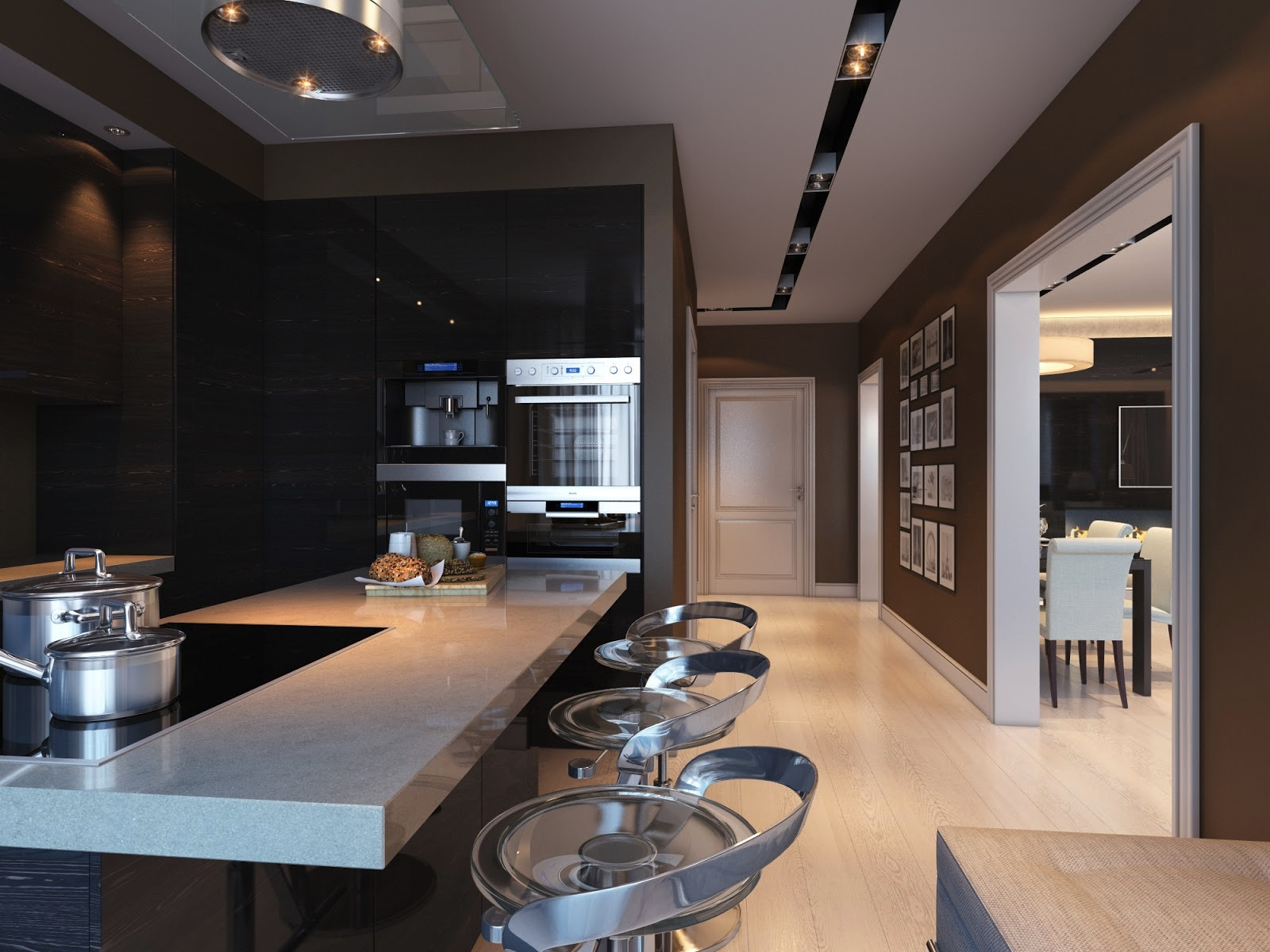 Black kitchen interior design