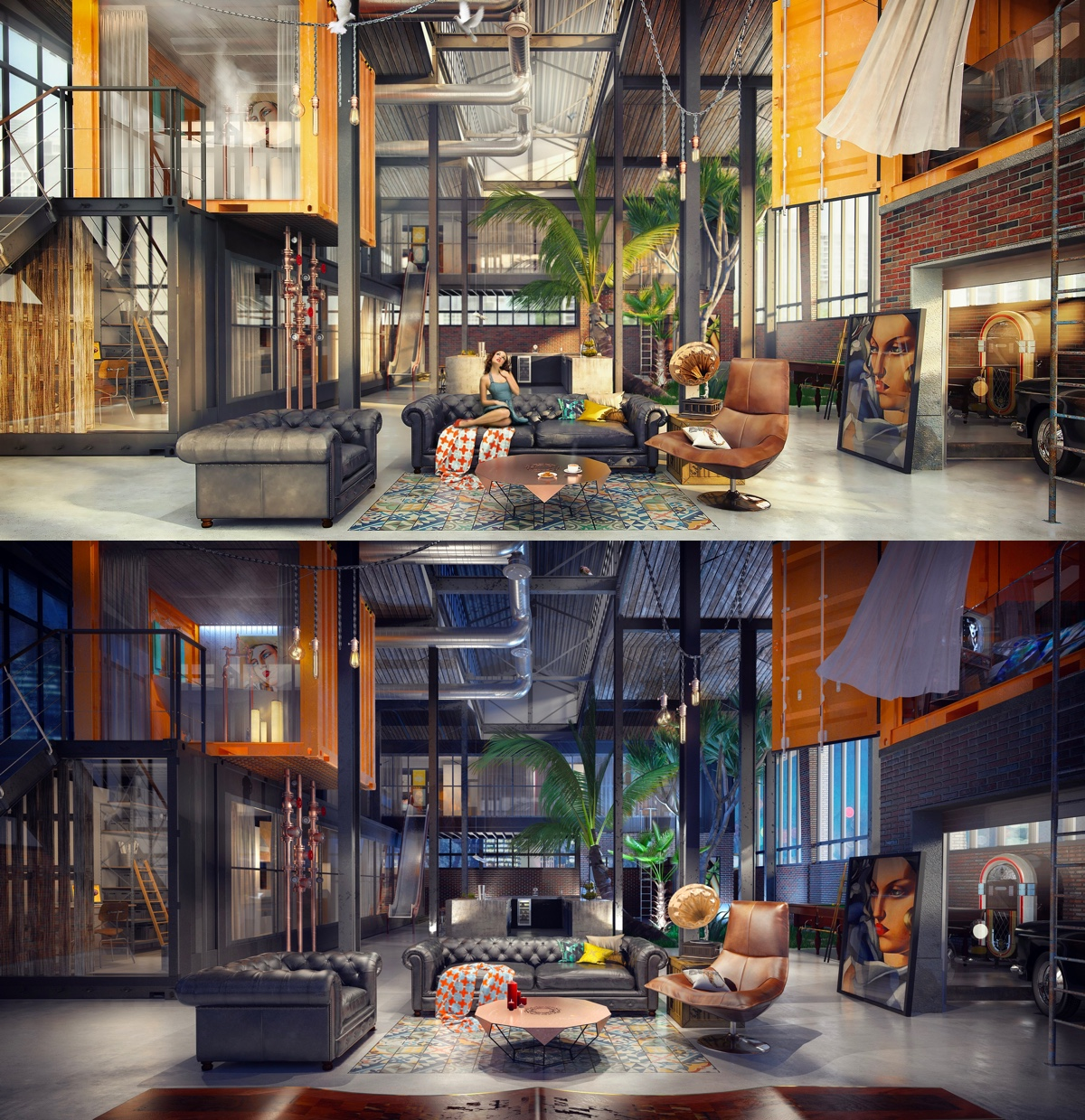Loft living room design