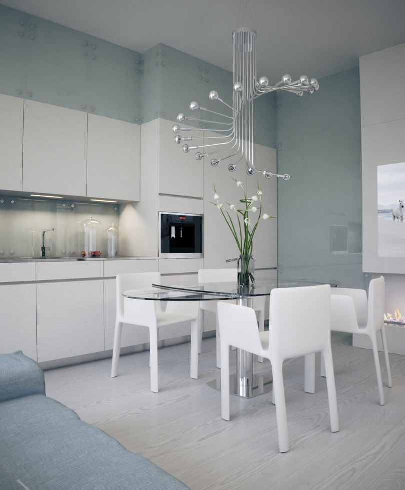 White apartment interior design with open plan concept