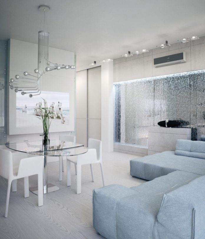 White apartment interior design with mirrored water feature