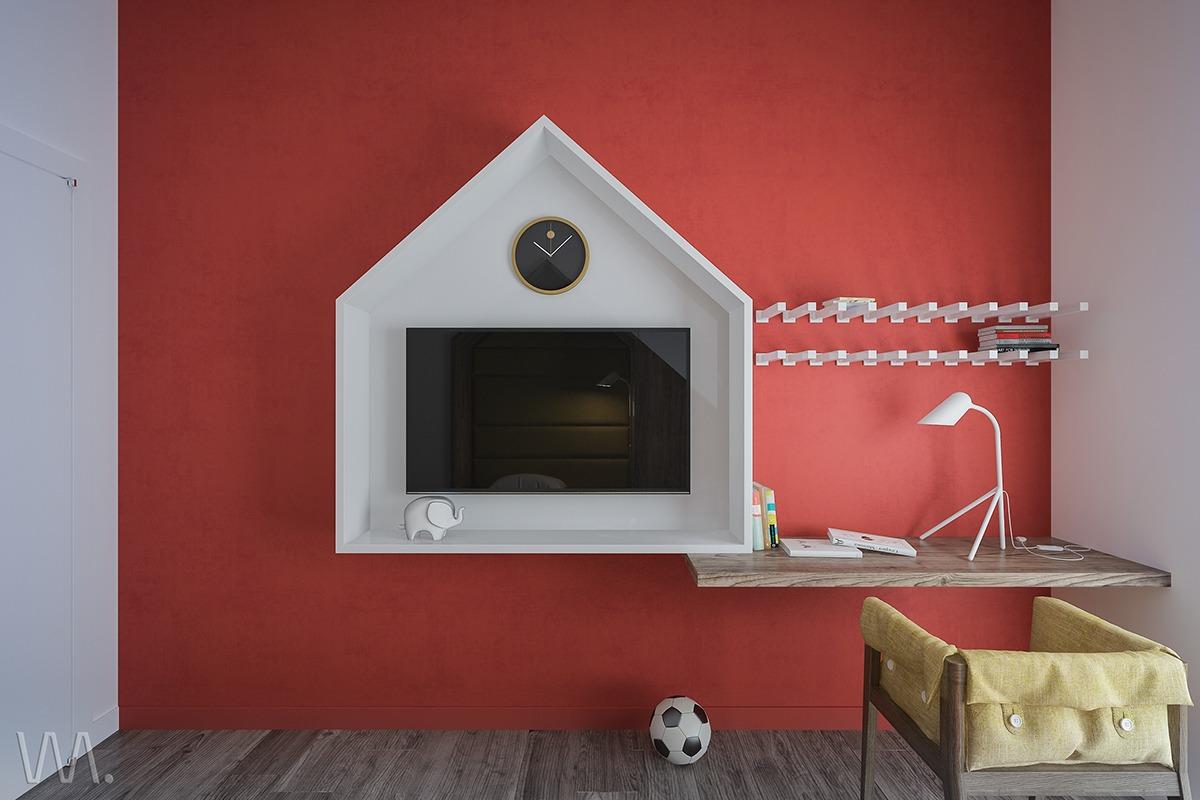 Minimalist and colorful ideas for teenage room design