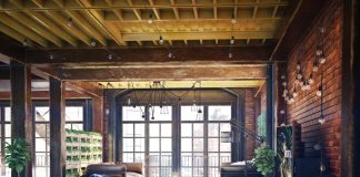 Loft living room design with modern industrial style