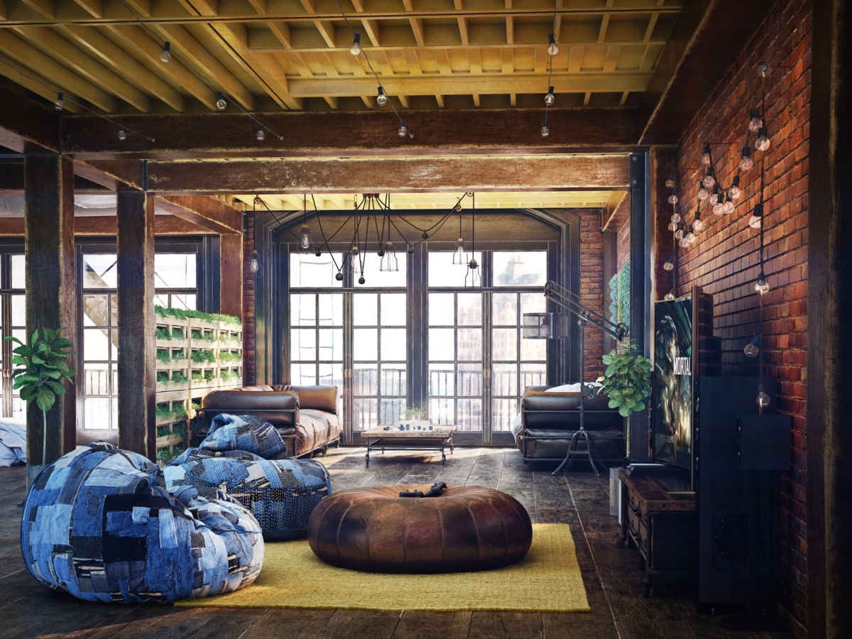 Loft living room design with modern industrial style for How to design a loft