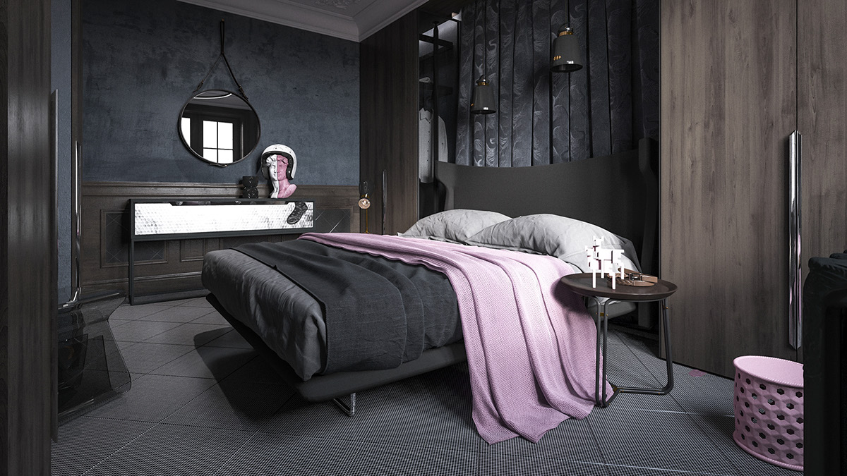 Dark bedroom decorating style