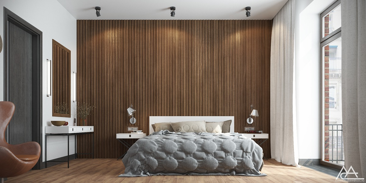 Creative wood wall decoration for bedroom