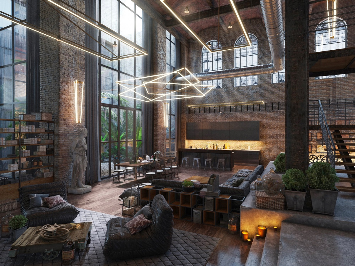 Loft living room design with modern industrial style for Modern industrial building design