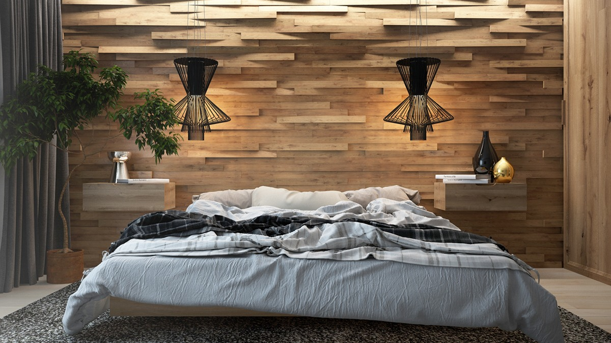 7 the best bedroom theme with creative wood wall for Bedroom decoration designs