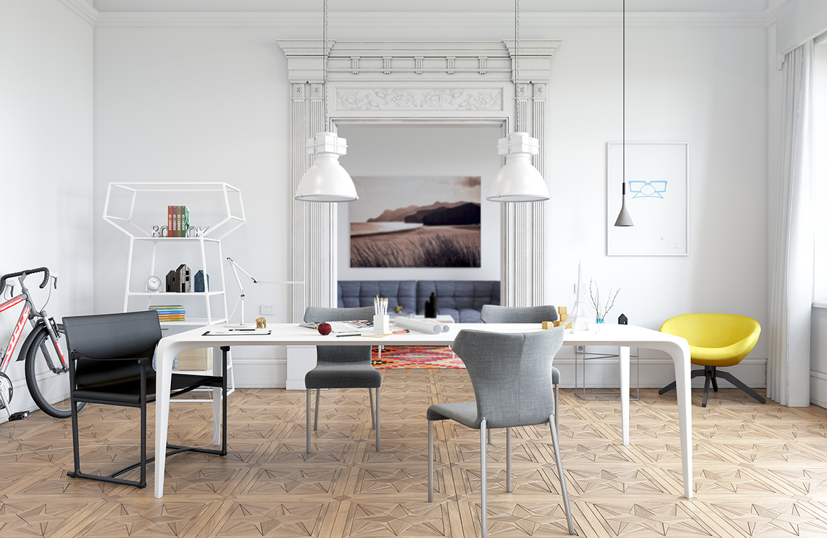 White dining room design ideas for small space roohome for Dining room ideas for small spaces